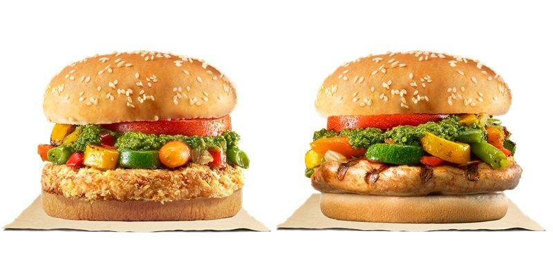 憑發票明細可兌換「義式青醬烤時蔬雞腿堡」(右)或「義式青醬烤時蔬里肌堡」(左)。圖/漢堡王提供