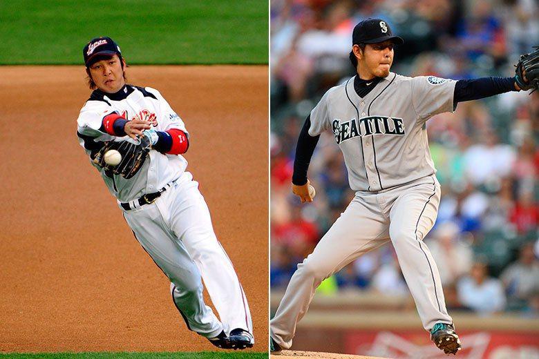 中島宏之(左)和岩隈久志(右)都曾經是旅美的明星球員,但今年球季結束後同遭到巨人隊的大幅減薪,球員生涯可能隨時要畫下句點。 歐新社資料照片