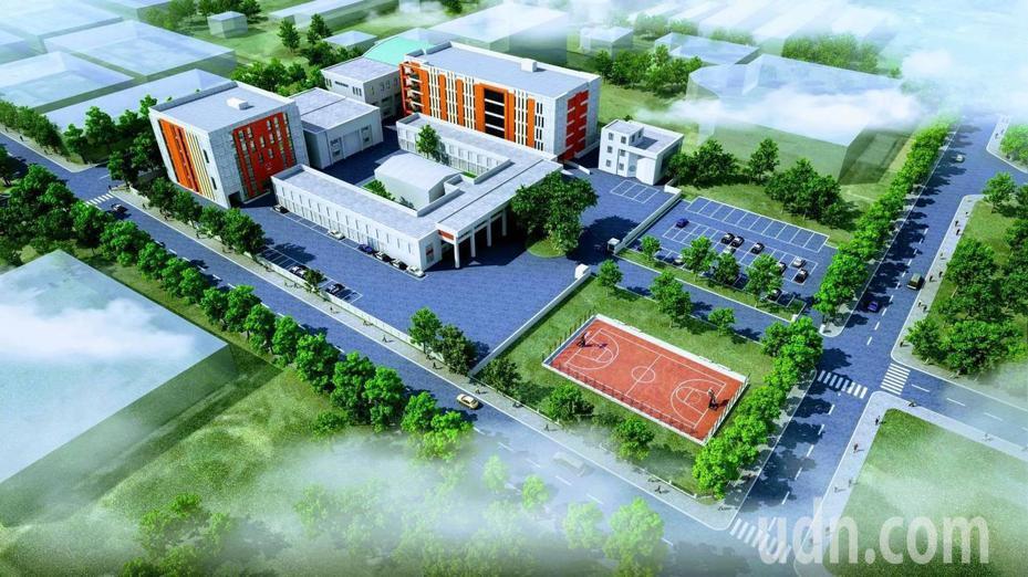 花蓮縣警察局警勤科技大樓暨綜合大樓預計110年10月完工,規畫2棟地下2層地上5層辦公廳舍。圖/花蓮縣警察局提供