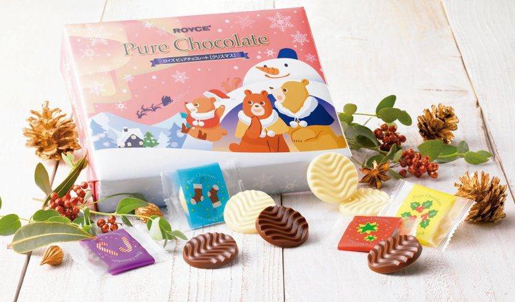 日本北海道巧克力第一品牌ROYCE耶誕期間限定包裝巧克力充滿童趣耶誕插畫包裝。圖...