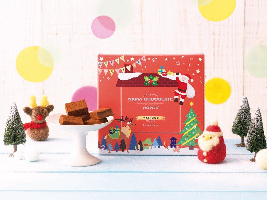 擁有可愛的聖誕老人及麋鹿等節慶氛圍包裝的耶誕節限定香醇牛奶口味生巧克力520元