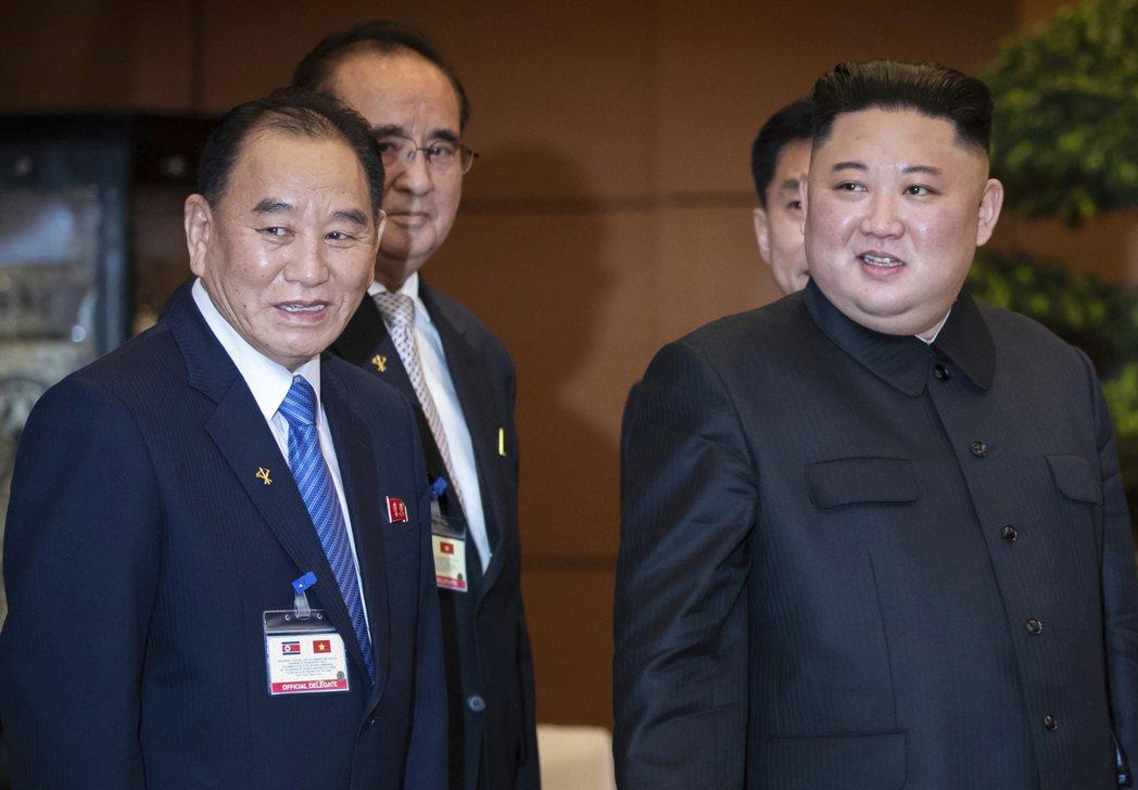北韓亞太和平委員會委員長金英哲(左)今年二月曾陪同北韓領導人金正恩(右)訪問越南...