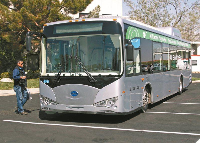 美國國會的國防授權法案將禁用中國大陸的巴士和列車。圖為比亞迪的電動巴士。 美聯社