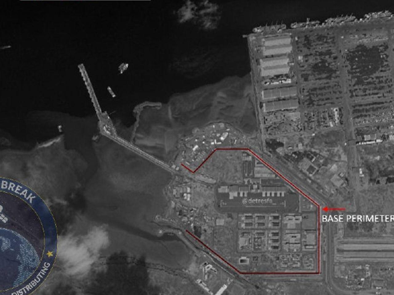 根據11月下旬的衛星照片顯示,中共在吉布地的基地的碼頭建設已接近完工。圖/取自微...