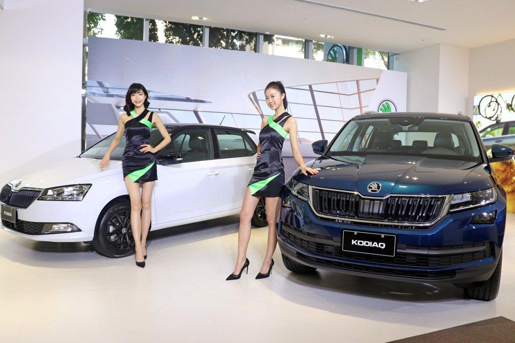 Skoda Taiwan邀請名模來展演車款。 記者陳威任/攝影