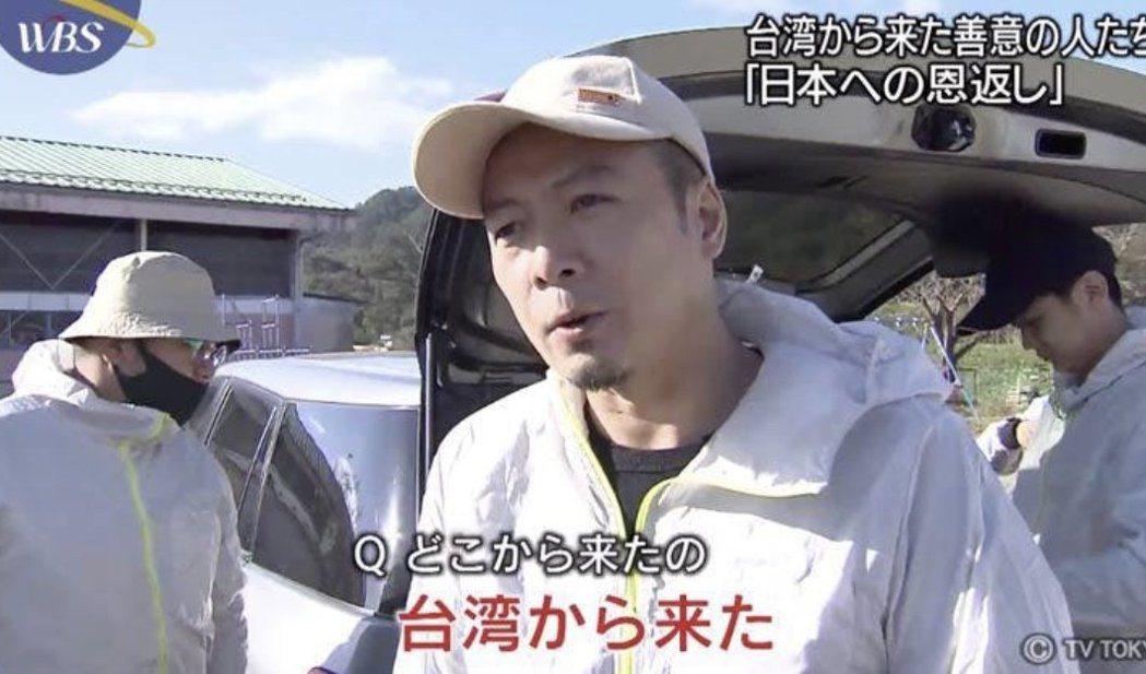 台南人陳一銘上個月前往日本丸森,協助當地水災善後,被日本媒體報導。 圖/取自網路