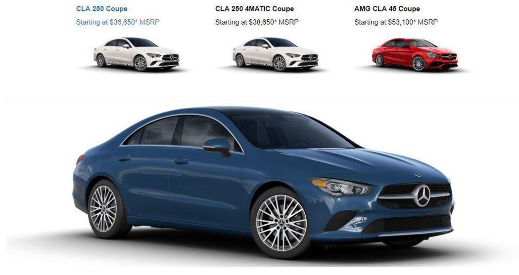 Mercedes-Benz CLA車系在美國市場的售價資訊。 截自Mercede...