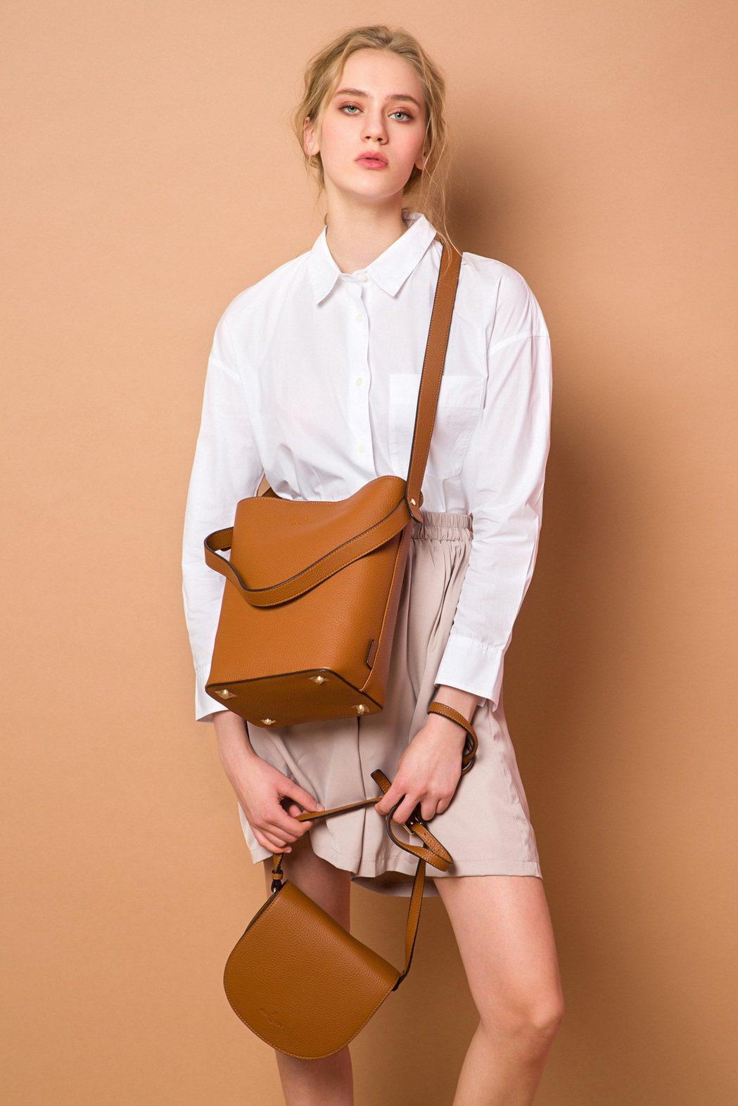 MONTAGUT女包系列:焦糖棕肩背包。 MONTAGUT /提供