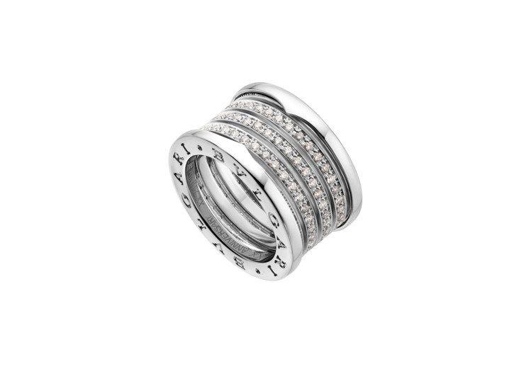 寶格麗B.zero1 20週年紀念版白K金五環鑲鑽戒指,約36萬2,600元。圖...