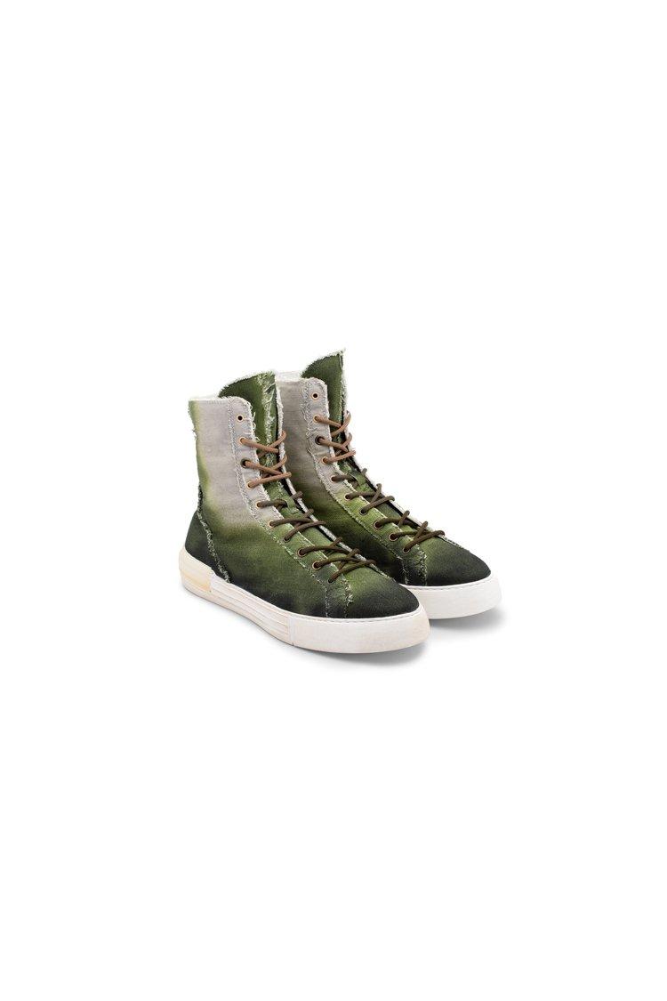 HOGAN H526綠色單寧高筒男士休閒鞋,價格店洽。圖/迪生提供