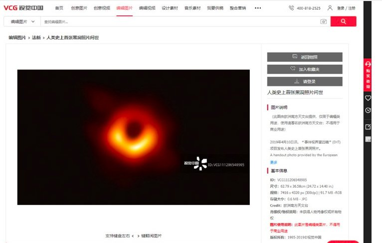 歐洲天文臺4月拍攝及發佈由人類直接拍攝到的第一張黑洞照片,版權聲明只要註明出處,...