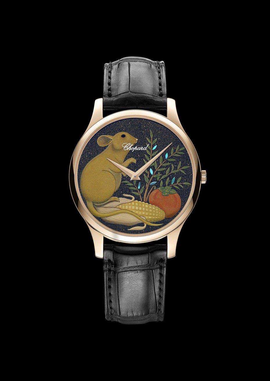 蕭邦,L.U.CXP Urushi Year of the Rat鼠年蒔繪腕表,18K玫瑰金,時間顯示功能,表面以日本蒔繪製作,限量88只,約799,000元。圖/蕭邦表提供