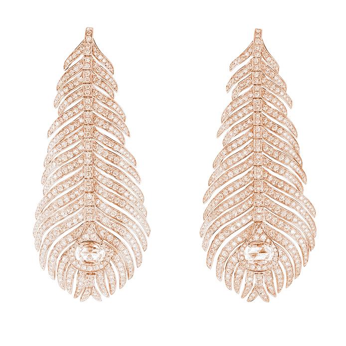Boucheron,頂級珠寶系列Plume de Paon孔雀羽毛耳環,玫瑰金,...