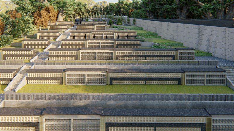 花蓮吉安鄉慈雲山位屬山區山坡地範圍,因應山區殯葬用地有限,研擬設置「納骨牆」,讓既有墓地改以「壁葬」形式節省安葬空間。圖/吉安鄉公所提供