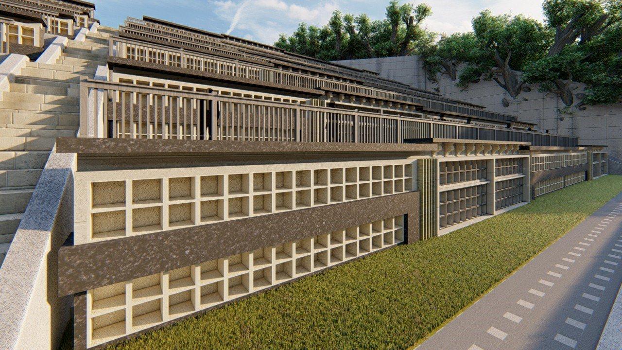 花蓮吉安鄉納骨牆預計提供不同形式、方位供民眾選擇,約可安放數量為4590格塔位。...