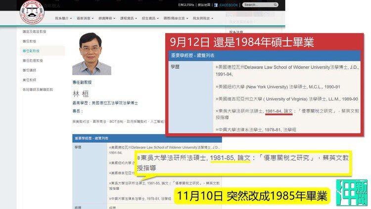 邱毅、王炳忠出具東吳大學網站截圖,顯示林桓副教授於上月更改了自己的碩士畢業年分,...