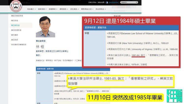 邱毅、王炳忠出具東吳大學網站截圖,顯示林桓副教授於上月更改了自己的碩士畢業年分,由1984變成1985。圖/新黨提供