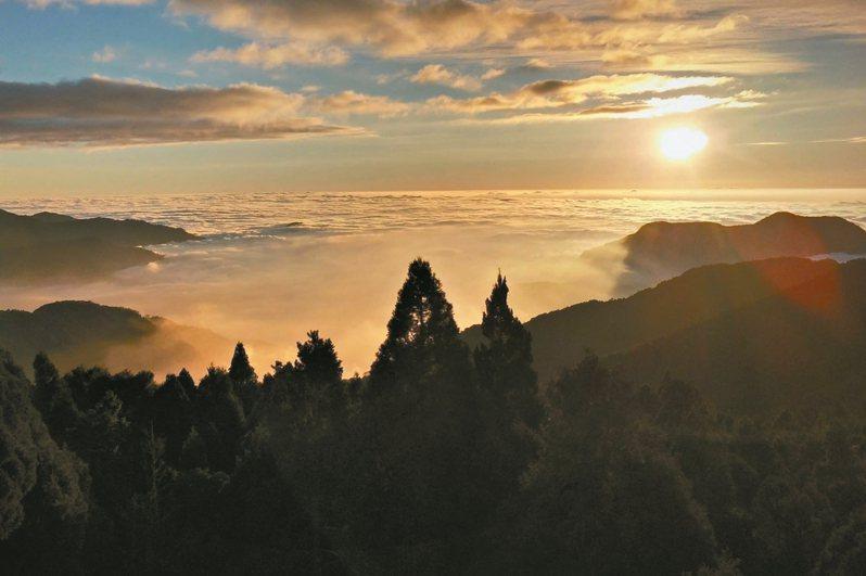 嘉義縣阿里山國家森林遊樂區內的祝山車站為全台海拔最高車站,許多民眾會搭林鐵上山看雲海及日出。 圖/林鐵及文資處提供