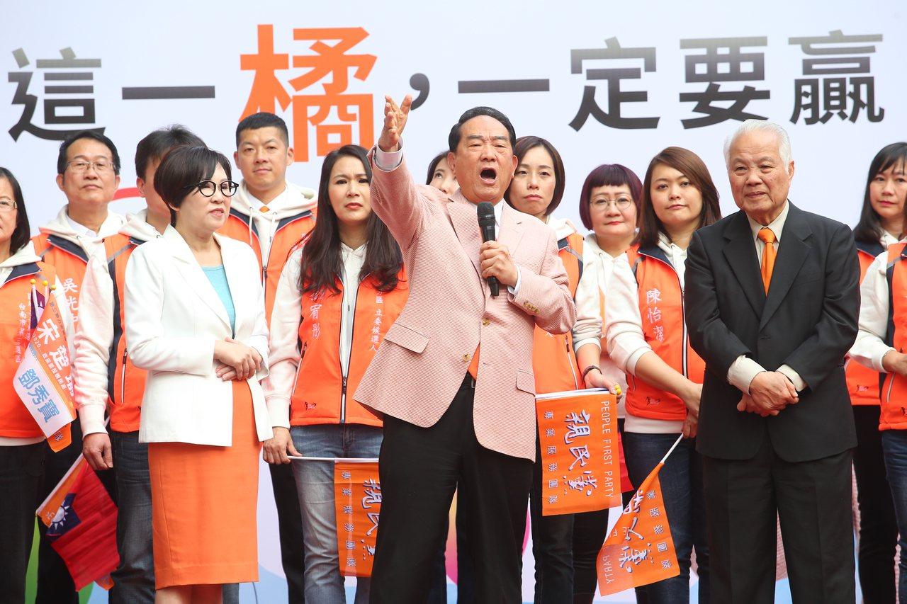 親民黨總統候選人宋楚瑜(前中)與副總統候選人余湘(前左)競選總部昨天正式開張。記...