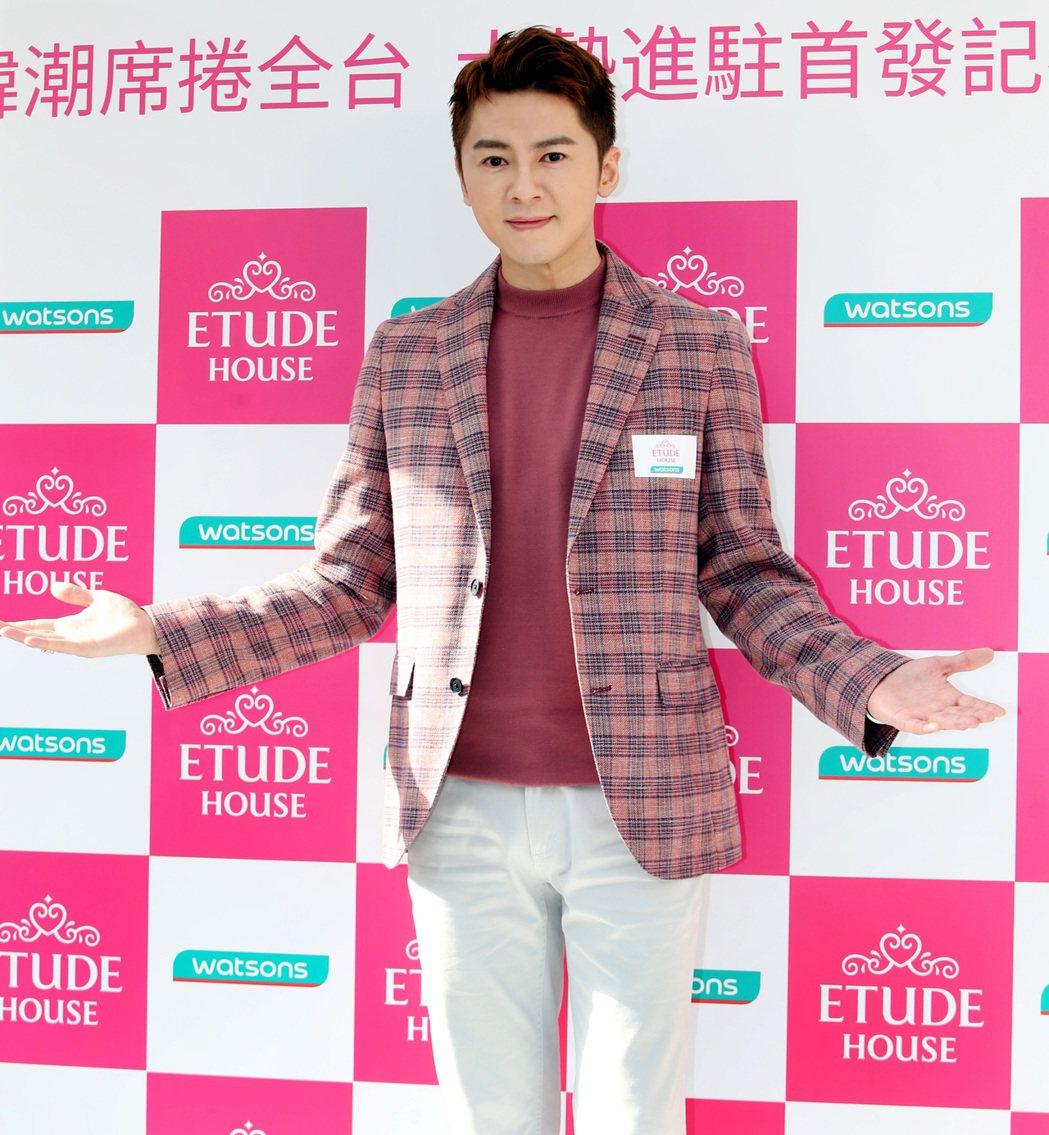李國毅為韓系美妝品牌進駐屈臣氏歡慶活動站台。記者侯永全/攝影