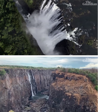非洲南部傳出世紀最嚴重旱災,維多利亞瀑布由原本磅礡的瀑布(上圖)減緩為細流(下圖...