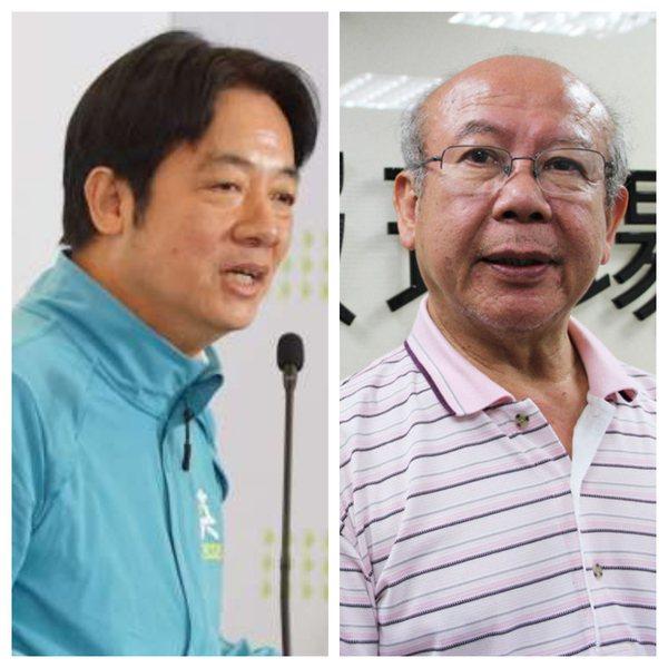 人權律師李勝雄(右)指出,賴清德是下一任總統人選(左),而英德配是2020總統大...