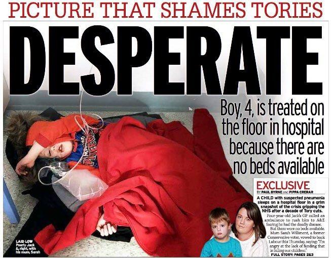 英國小報每日鏡報把男孩照片刊在頭版。圖/取自推特