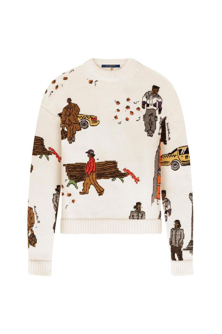 同系列NEW WALKERS手工編織、刺繡羊毛和山羊絨混紡圓領衫,售價21萬元。...