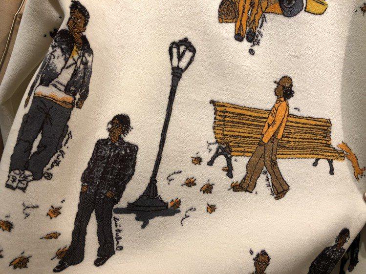 NEW WALKERS緹花帽T的繪圖靈感,來自2019秋冬男裝秀上服裝。記者楊詩...