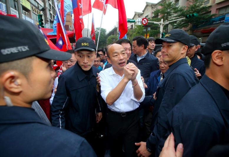國民黨總統候選人韓國瑜(中)。圖/聯合報系資料照片