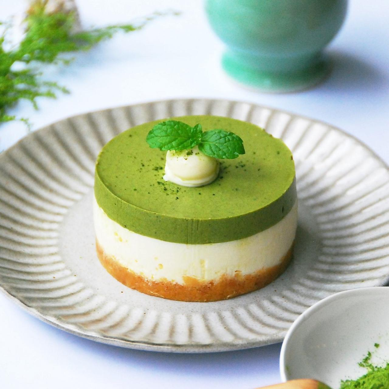 「抹茶生乳起司蛋糕」售價600元(5吋)。圖/摘自和茗甘味處臉書專業
