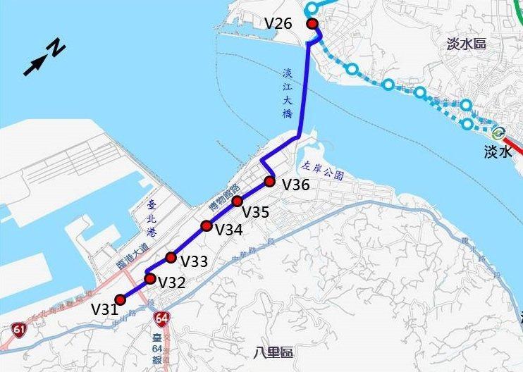 八里輕軌可行性研究今天獲交通部審查通過,沿線規畫7座車站。示意圖/新北捷運局提供