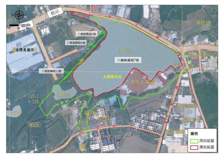 市府交通局指出,大湳水上樂園用地陸域範圍面積不大且分散,又用地編定為水利用地,不...