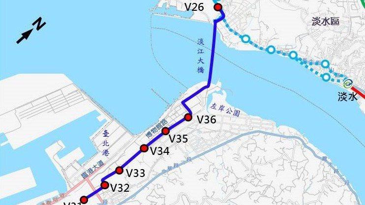 八里輕軌路線圖。 圖/新北市捷運局提供