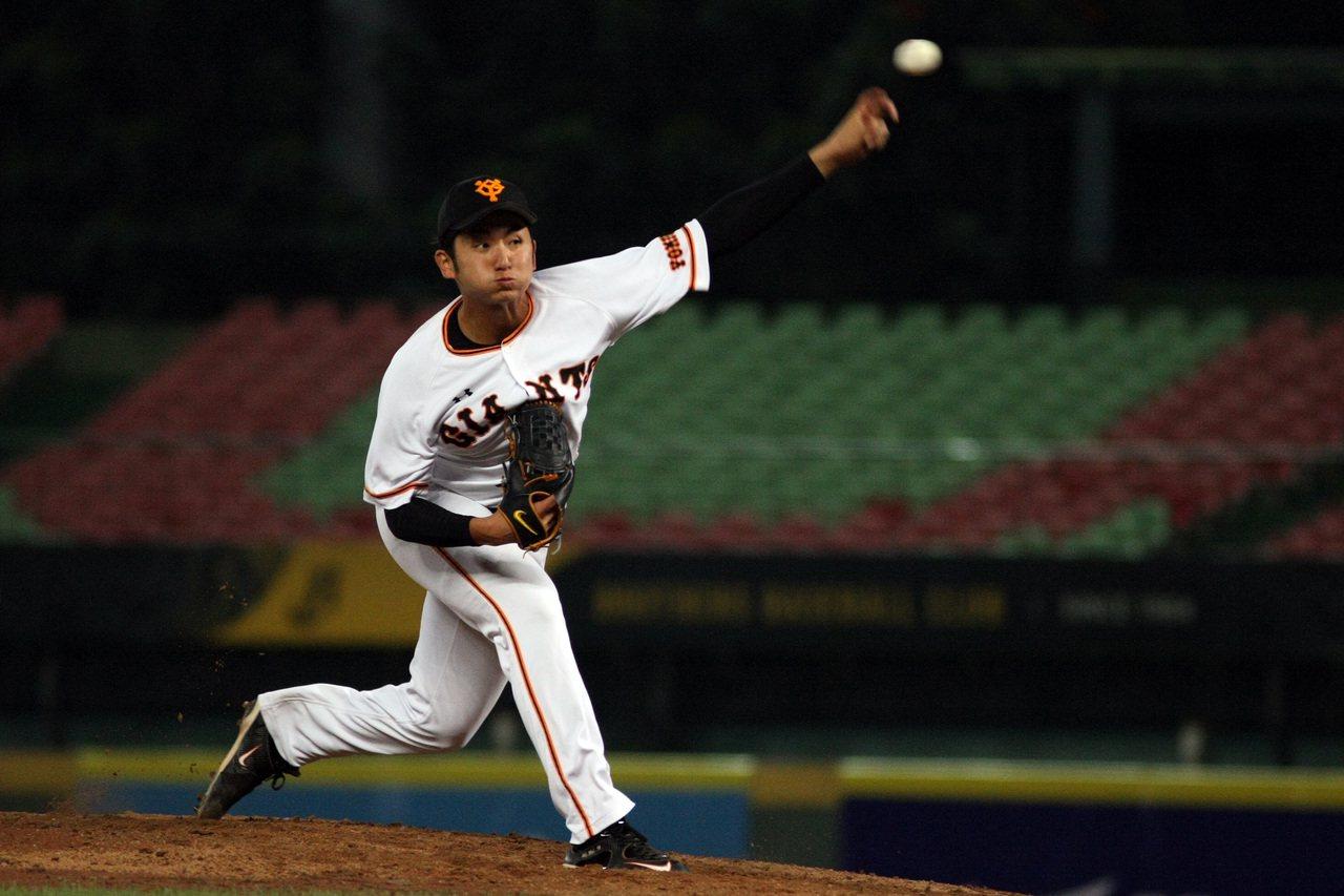 日職白隊先發投手橫川凱投6局、失4分,拿到勝投。圖/中職提供