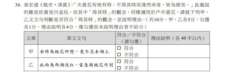 大學入學考試中心首度公布111年學科能力測驗國文、英文科參考試卷,考生除了「選」答案,還要以文字解釋作答理由、表達看法。圖截自大考中心官網