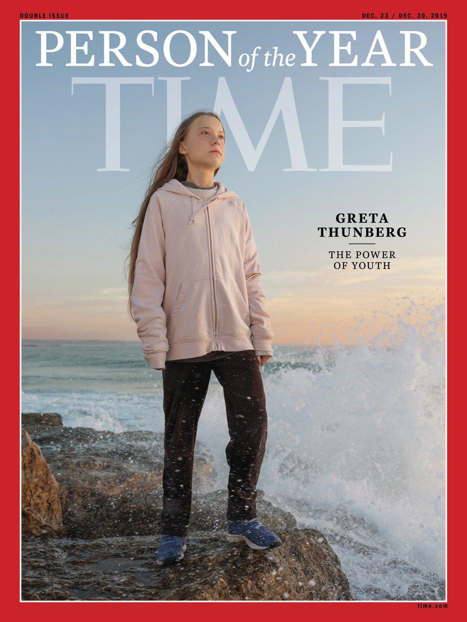 時代雜誌十一日公布二○一九「年度風雲人物」,由十六歲瑞典環保少女童貝里獲得殊榮。   圖╱摘自雜誌官網