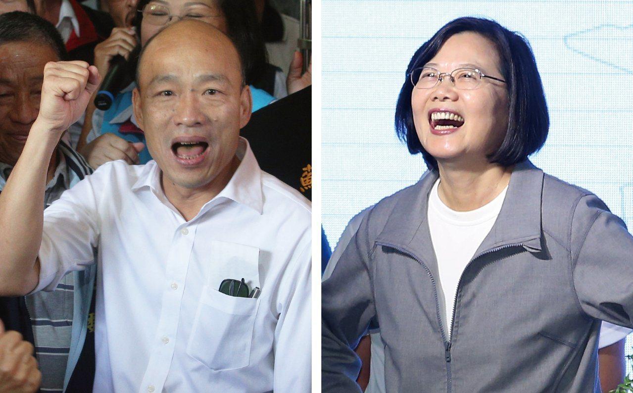 總統大選倒數一個月,民進黨候選人蔡英文(右)與國民黨韓國瑜(左)陣營持續在電視辯...