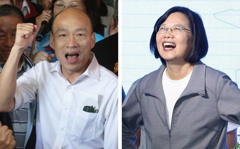 總統大選倒數一個月,民進黨候選人蔡英文(右)與國民黨韓國瑜(左)陣營持續在電視辯論會議題攻防。 圖/聯合報系資料照片
