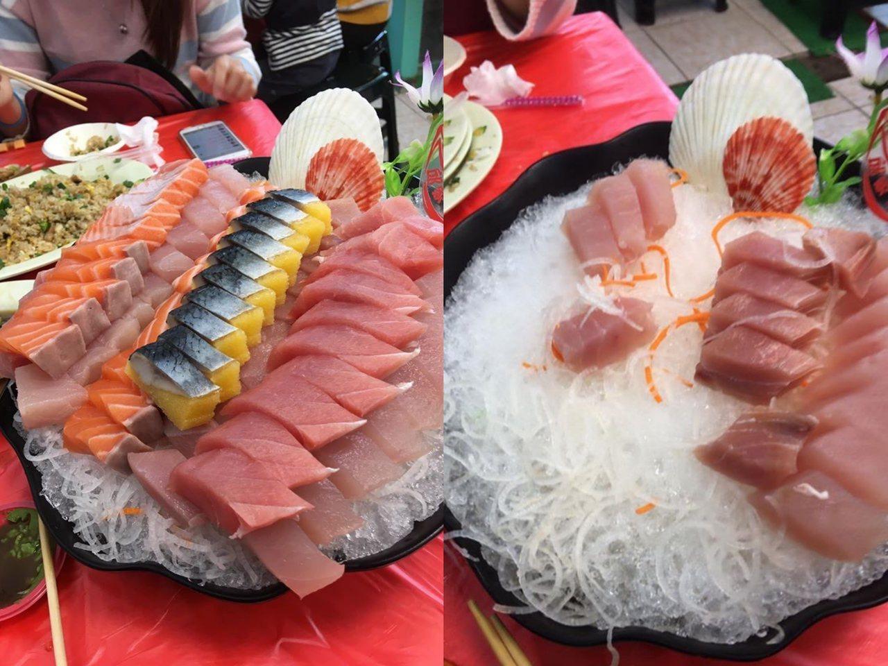 網友表示自己點2大份生魚片,要價400元。圖/摘自爆廢公社二館