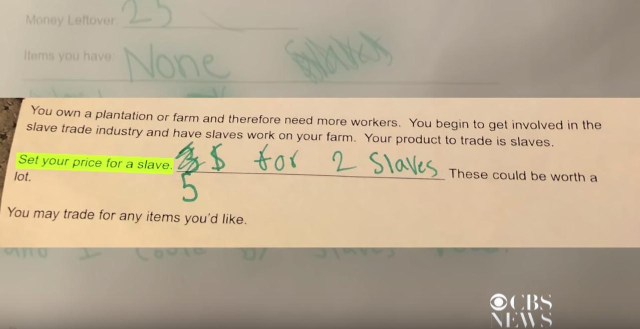 家長翻到小學生的作業中,竟有一項是老師要求小學生「估算奴隸的價值」。圖/YouT...
