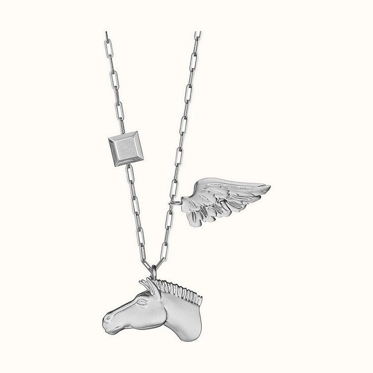 Talismans 系列項鍊(磨砂鍍鈀飾面鍍銀金屬材質)。 圖/愛馬仕 提供