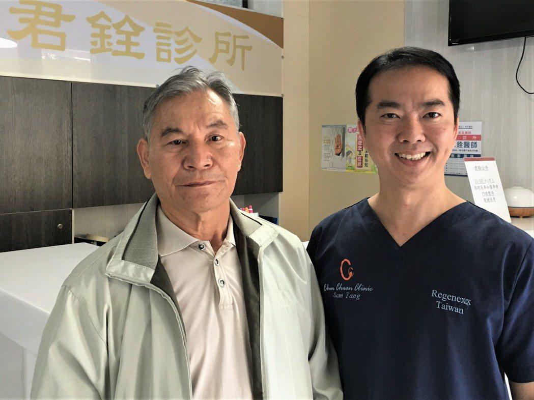 骨科醫師楊家銓(右)為患者施以「射頻神經燒灼術」僅短短15分鐘就解決了這名患者多...