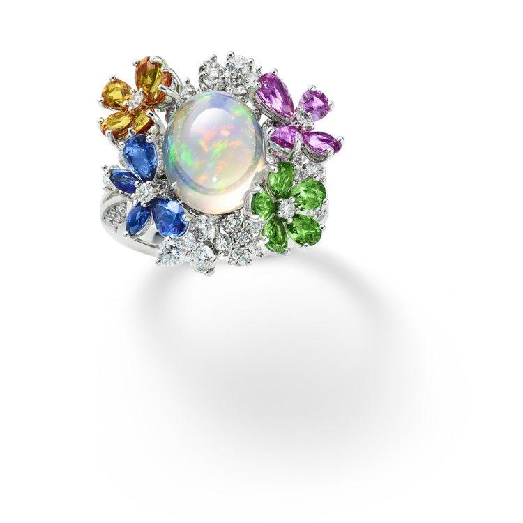 MIKIMOTO祕密花園頂級珠寶系列蝴蝶繁花造型戒指,以莫內的《花園》為靈感,約...