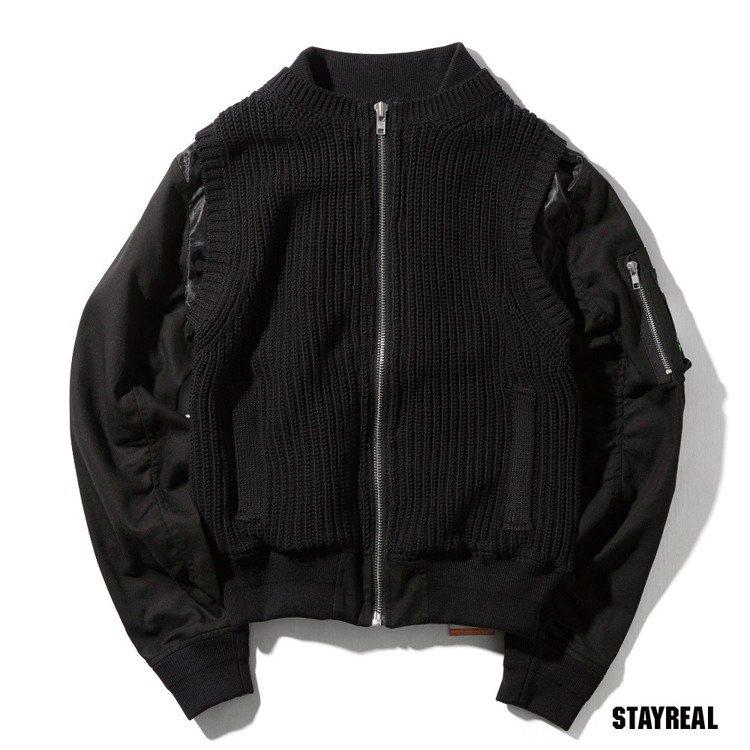 STRL厚磅編織拼接MA1(黑色/深藍色),售價3,980 元。圖/STAYRE...