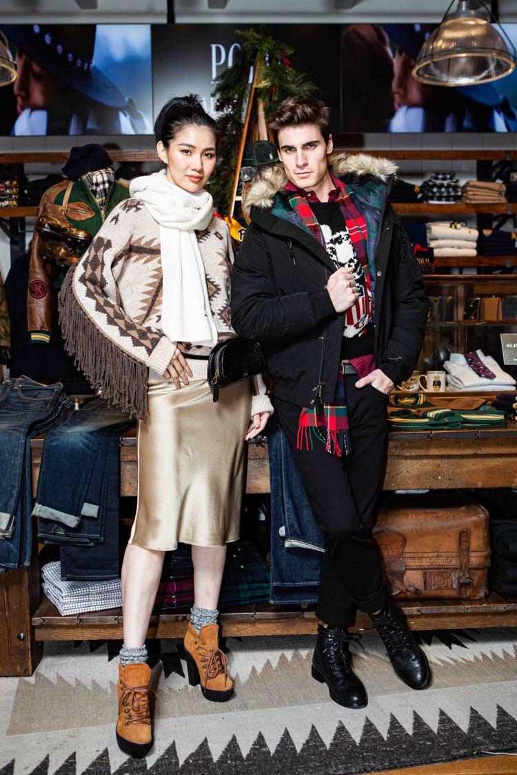 模特兒示範Polo Ralph Lauren男裝節慶、女裝早春系列,女裝圖騰毛衣...
