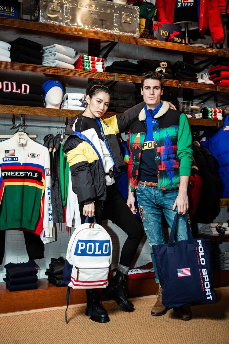模特兒示範Polo Ralph Lauren丹寧節慶系列,色彩亮眼明快。圖/Po...