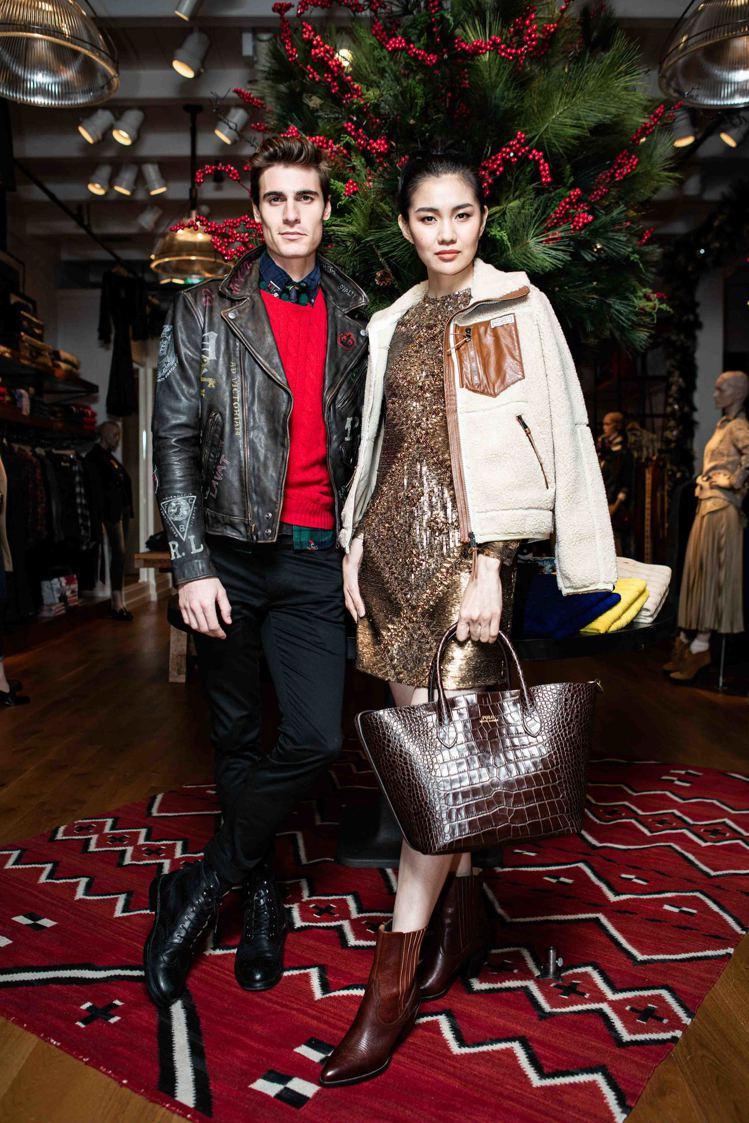 模特兒示範Polo Ralph Lauren男裝節慶、女裝早春系列,早春亮片短洋...