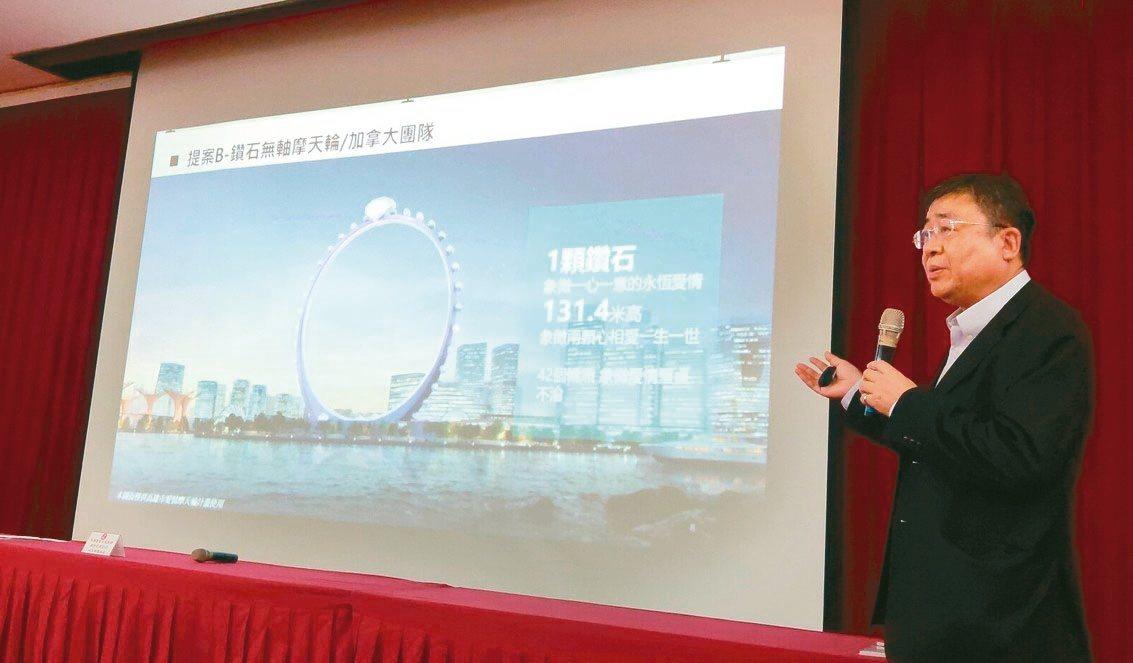 高市經發局長伏和中表示,愛情摩天輪開發案已納入港市招商,預定12月由土開公司招標...