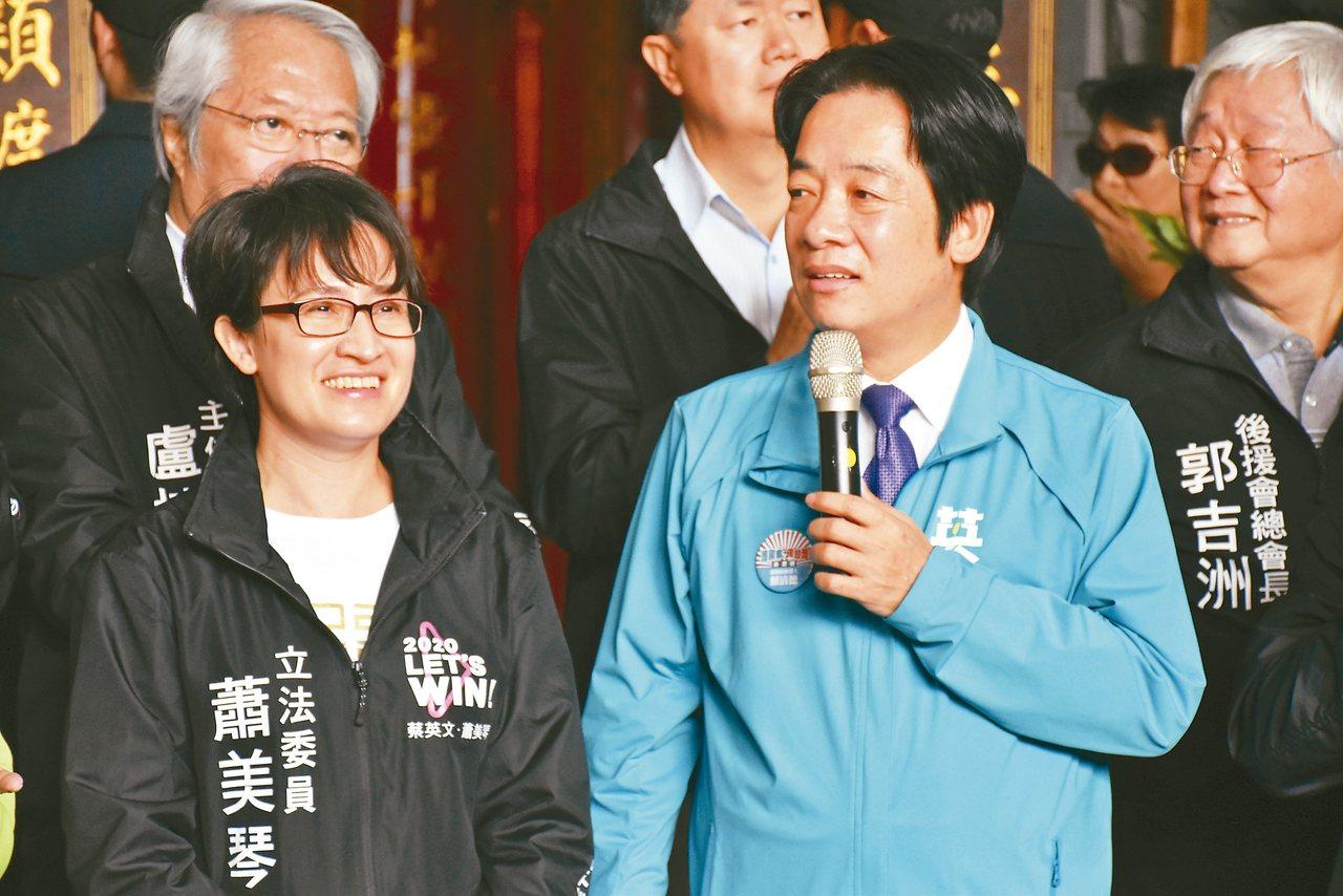 民進黨副總統候選人賴清德,為花蓮立委參選人蕭美琴(左)站台。 記者王思慧/攝影